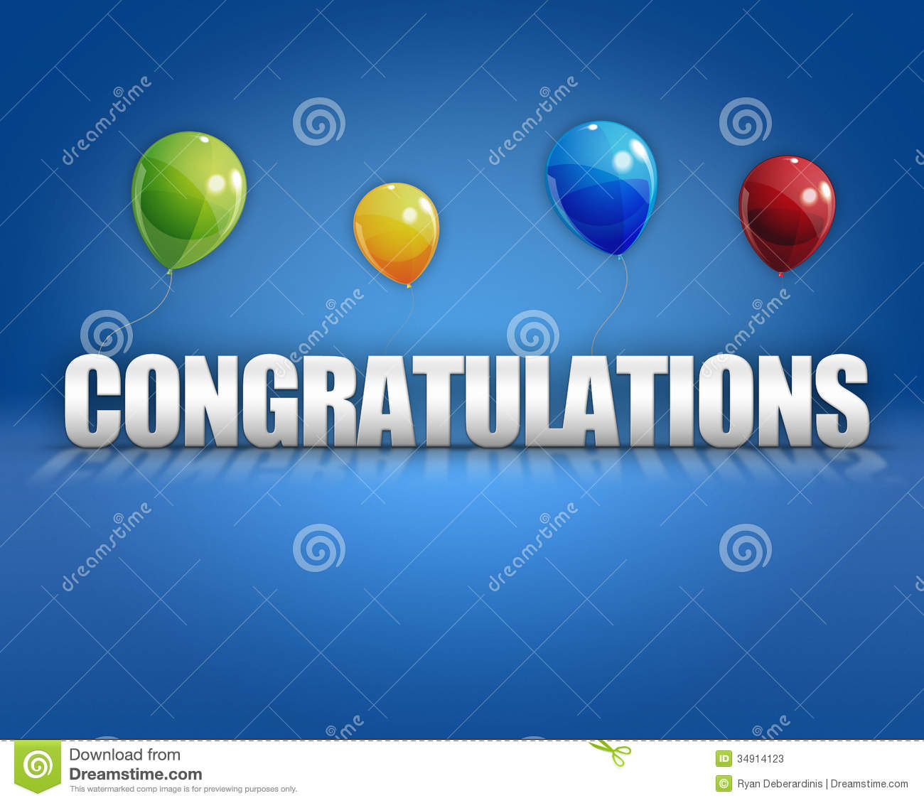 Congratulations Balloons 3d Background Stock Photos