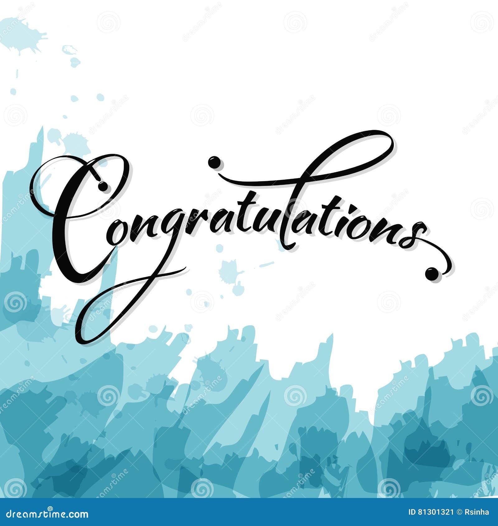 Congratulations calligraphy stock vector image