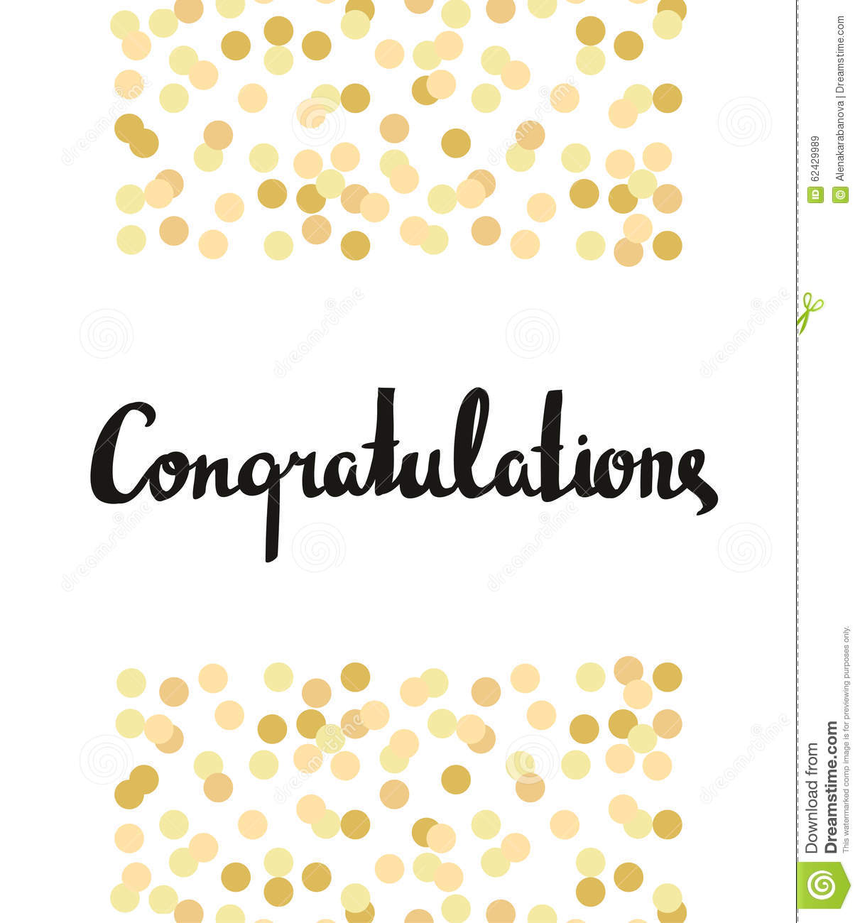 Congratulations Calligraphy Congratulations Background With Gold Confetti Stock Vector