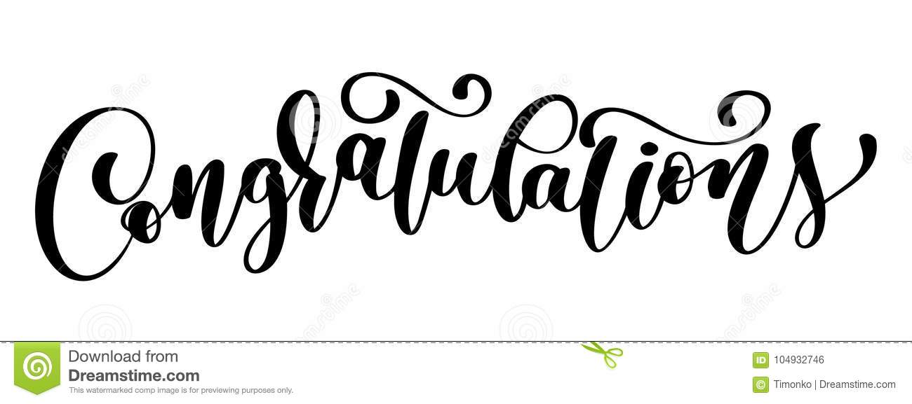 congratulations calligraphy lettering text card with template for
