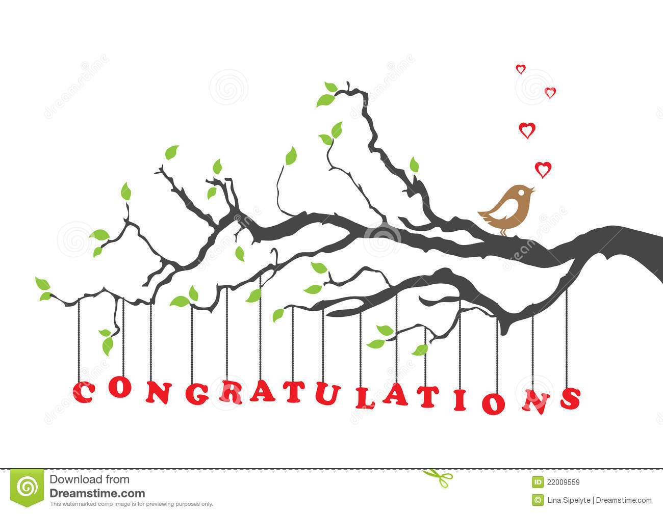 Charming Congratulations Card With Bird  Free Congratulation Cards