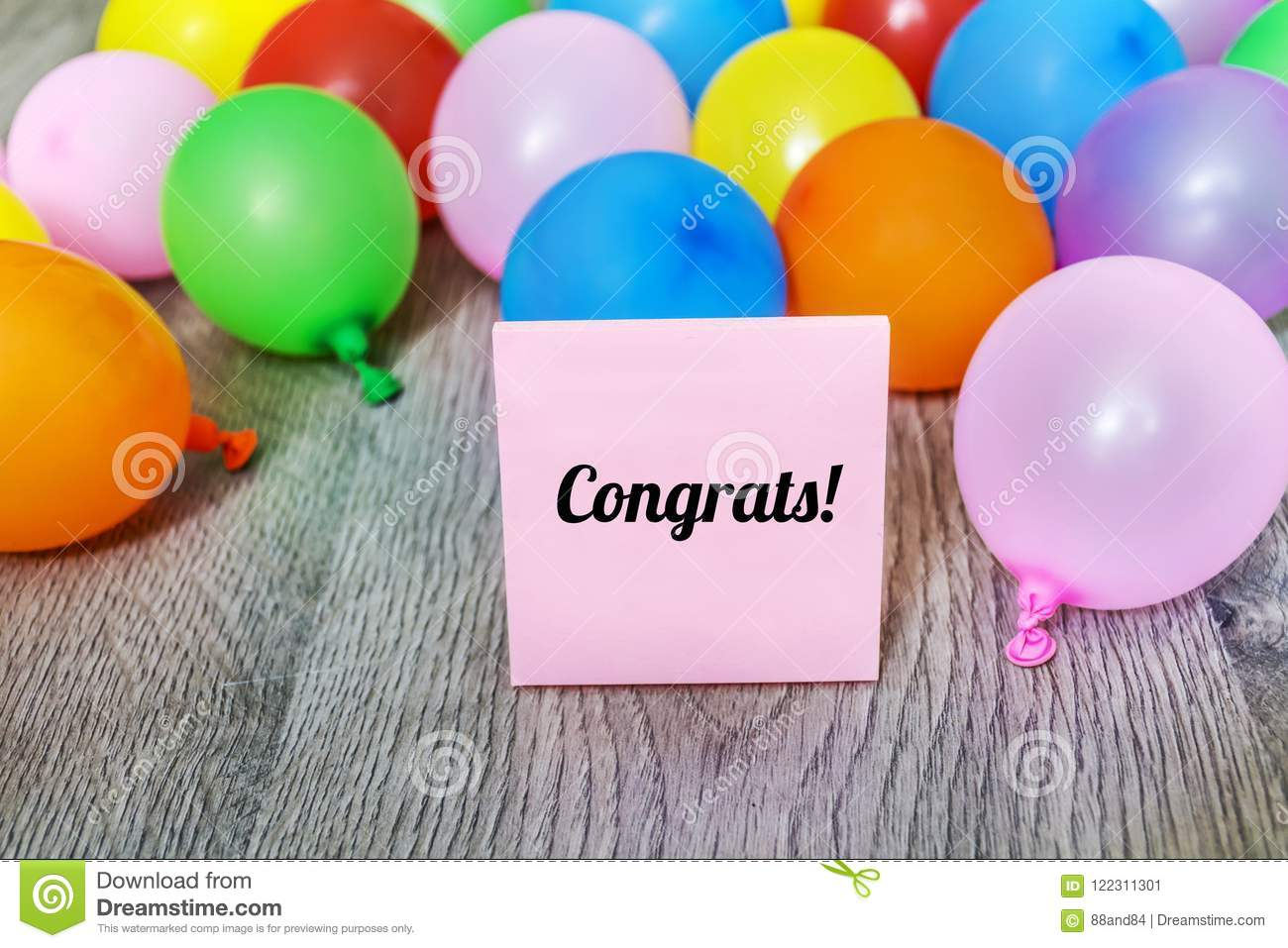 Greeting Card With Balloons And Congrats Message Stock Image Image