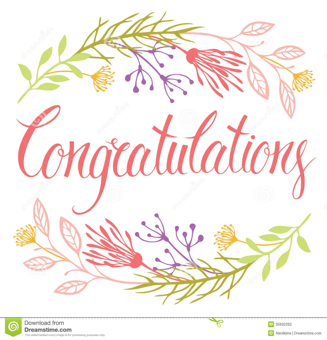 Congratulations Card With Flowers And Calligraphy Stock