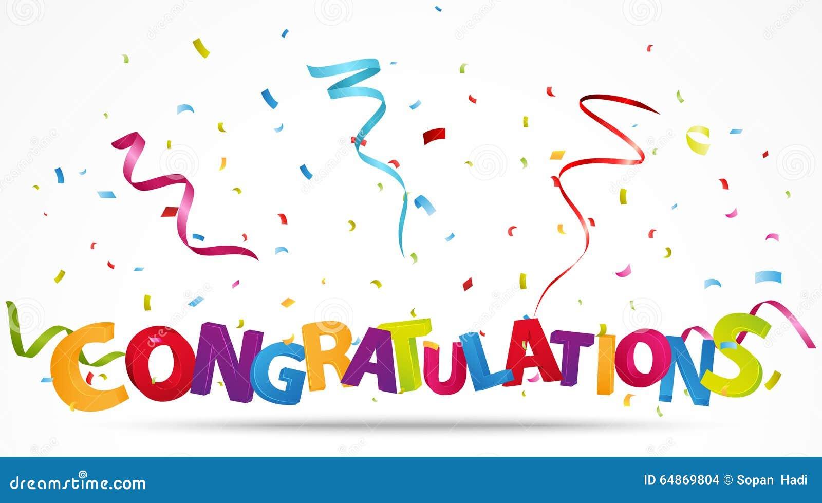 congratulations with confetti stock vector illustration of