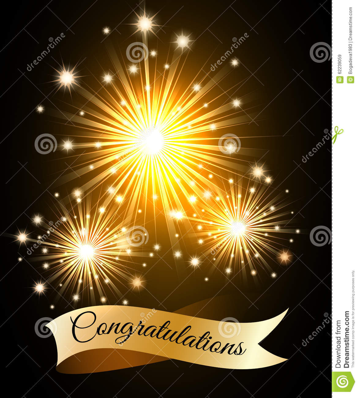 fireworks with wording Congratulations on the golden ribbon. Free ...