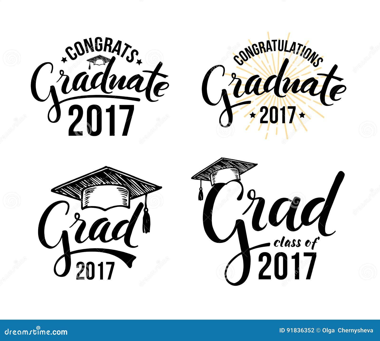 congratulations graduate 2017 stock vector illustration of