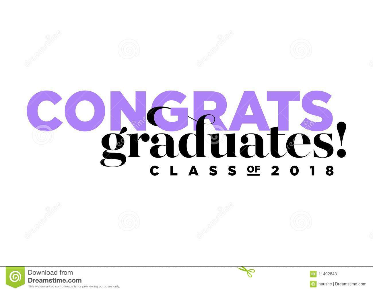 Congratulations Graduates Class Of 2018 Vector Logo Stock Vector