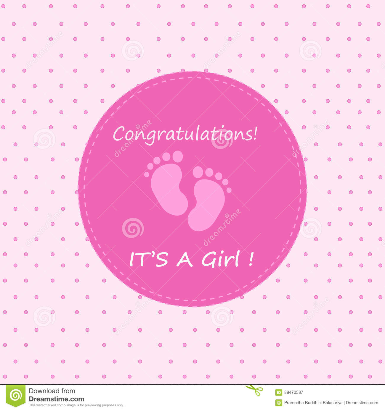 congratulations its a girl stock vector  illustration of
