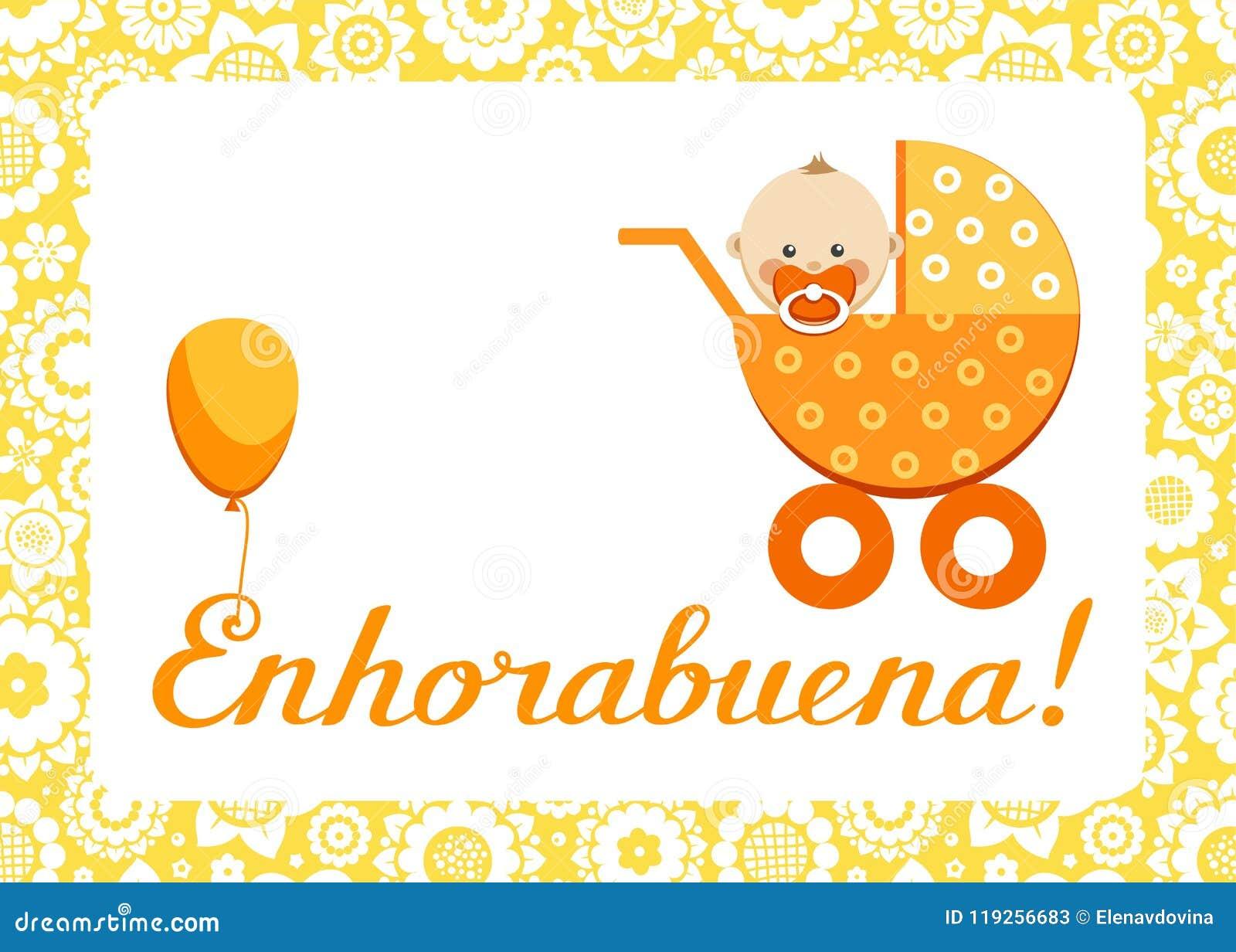 Congratulations new baby greeting card spanish vector stock congratulations new baby greeting card spanish vector m4hsunfo