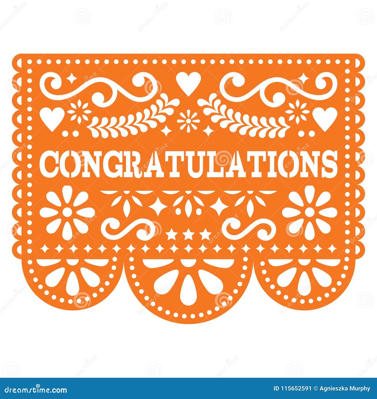 Congratulations Papel Picado Vector Design Greeting Card Mexican
