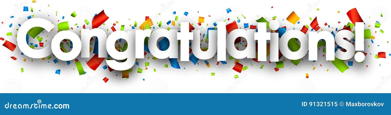 congratulations paper banner stock vector illustration of