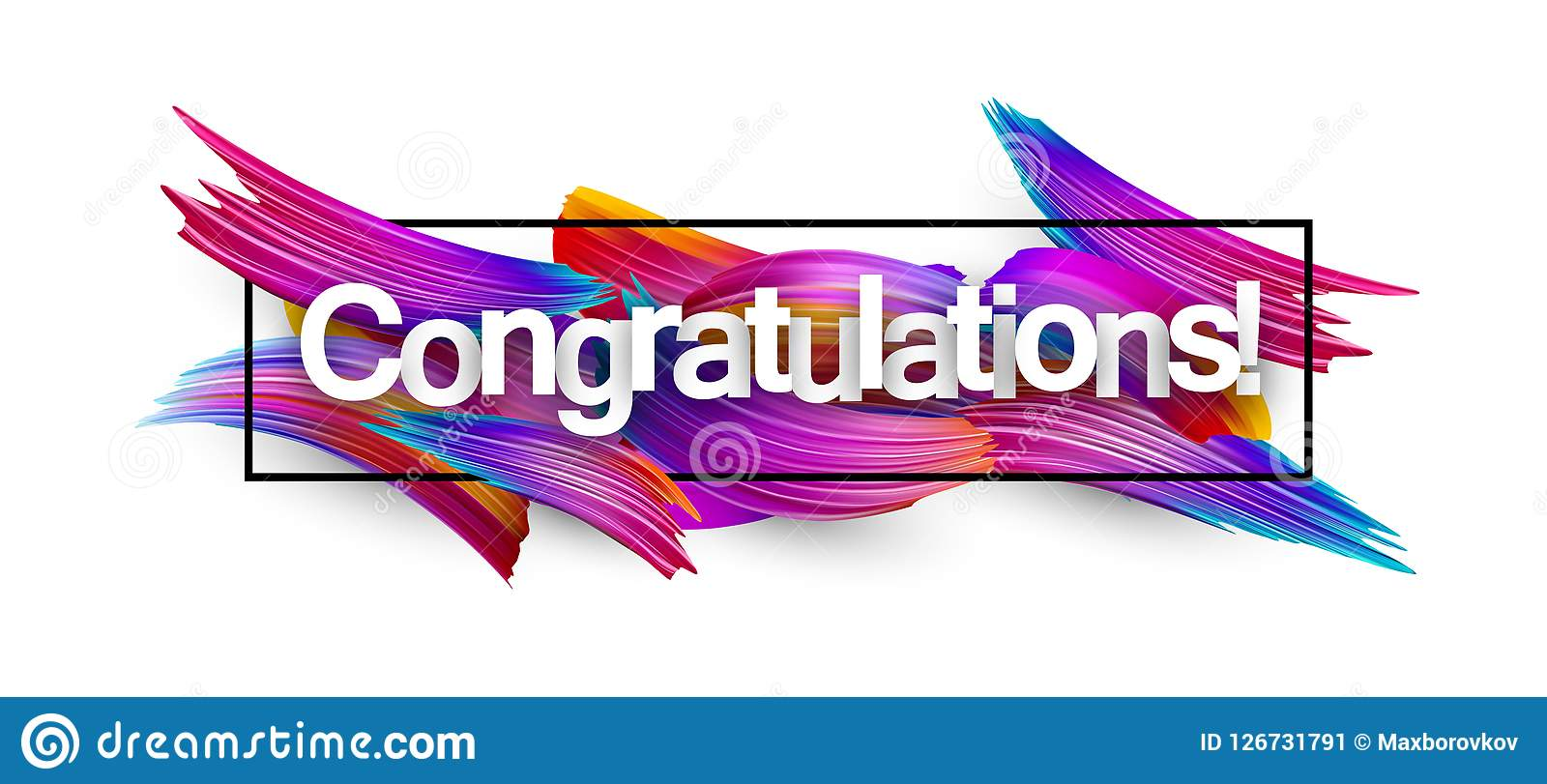 congratulations paper banner with colorful brush strokes stock