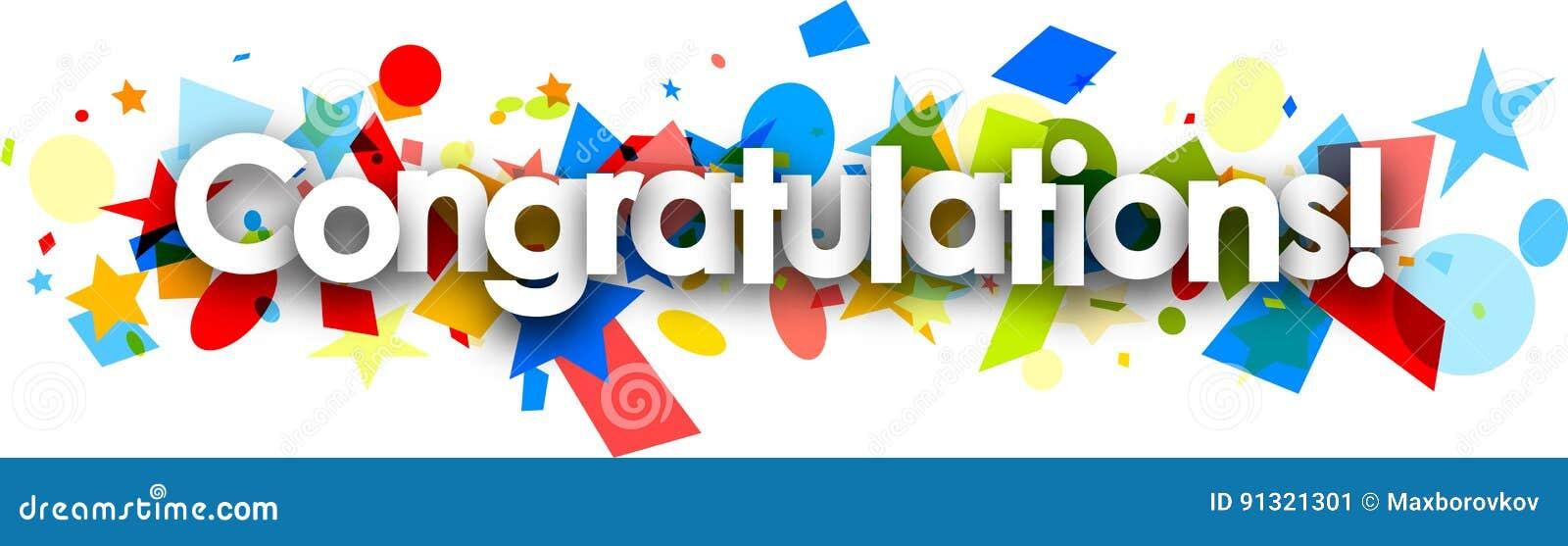 congratulations paper banner with confetti stock vector