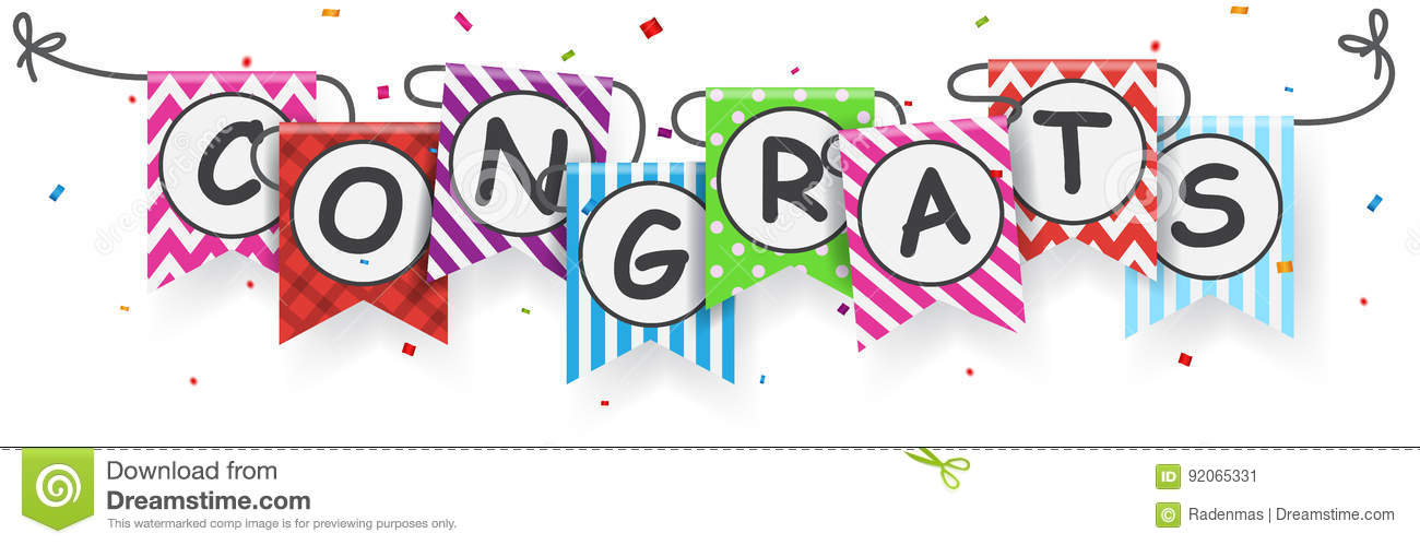 congratulations sign with bunting flags stock vector illustration