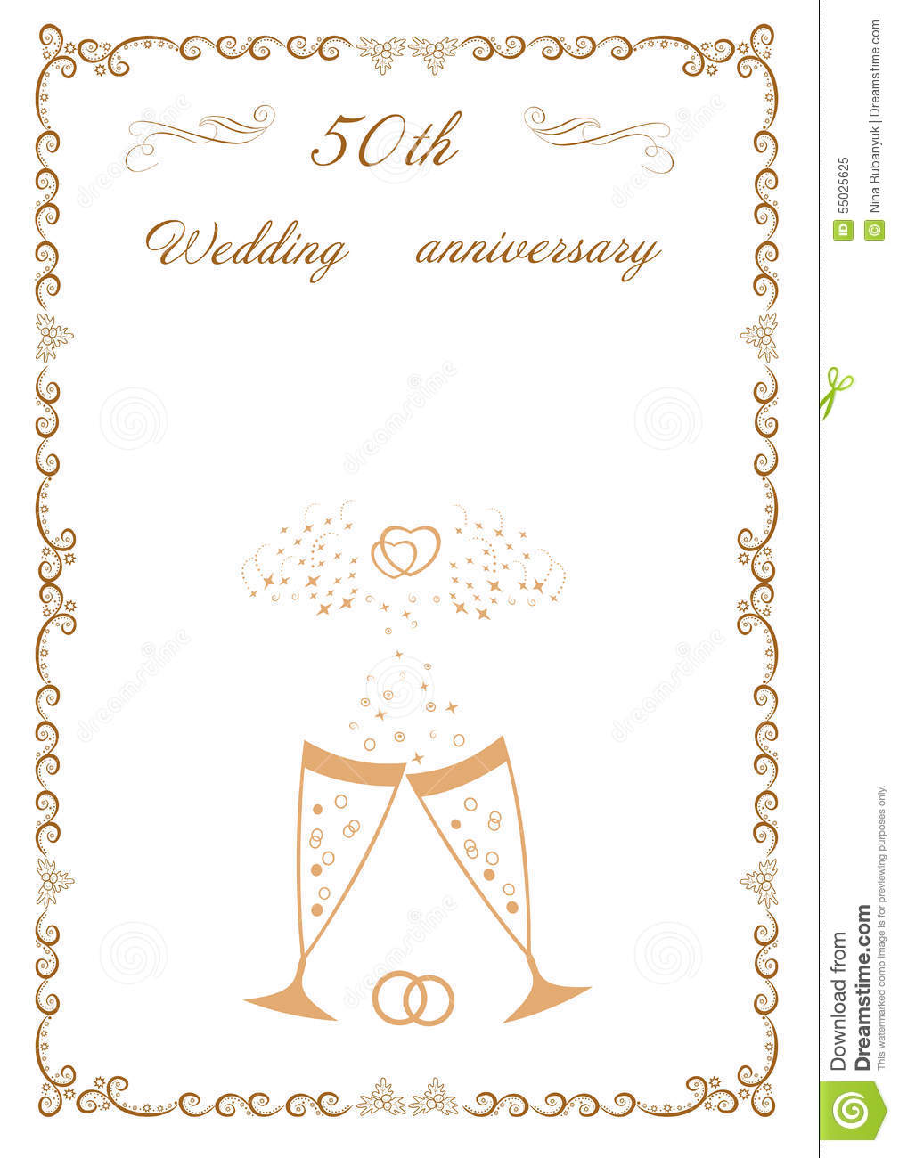 Congratulations To The 50 Anniversary Wedding Stock Illustration