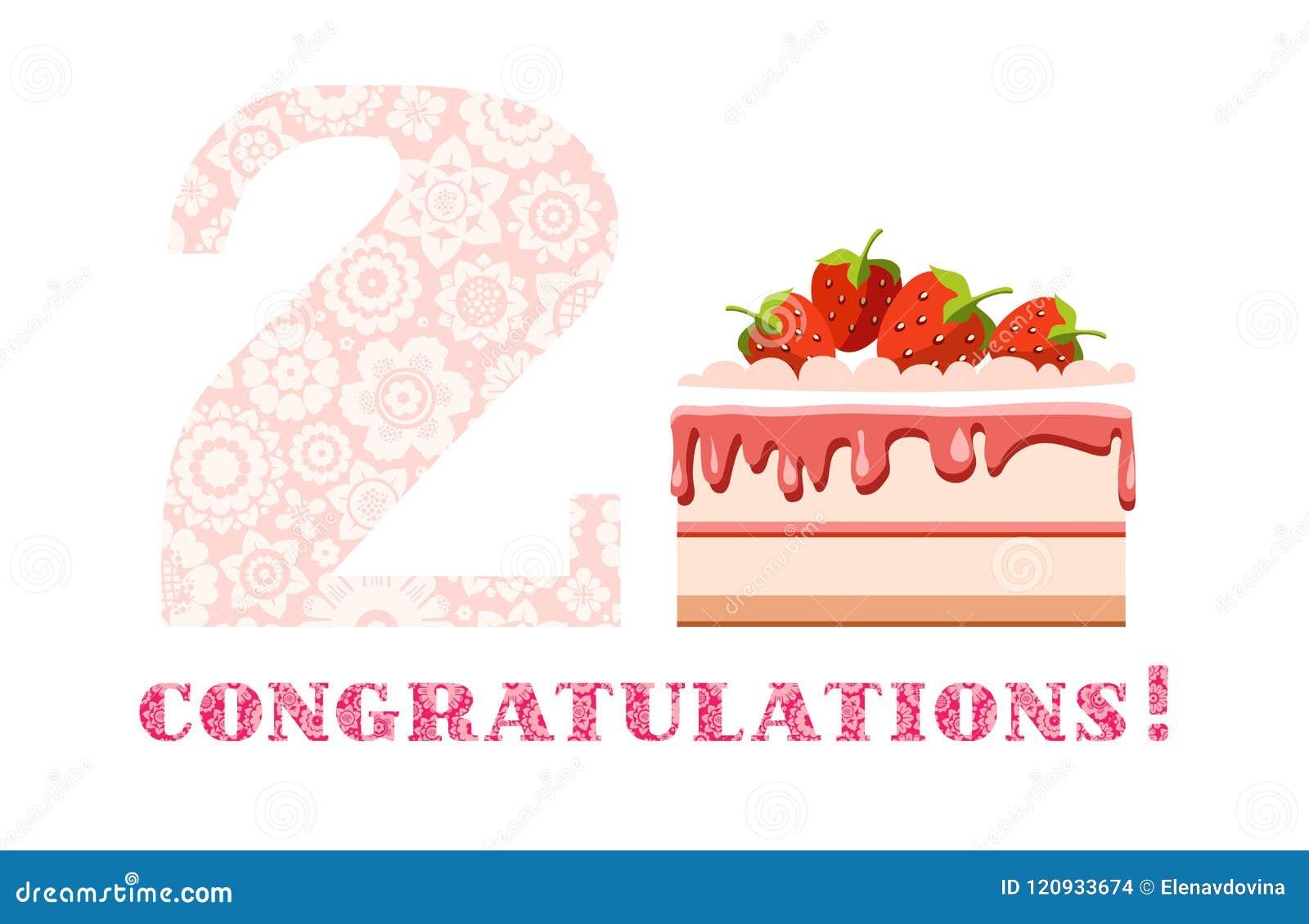 Congratulations 2 Years Strawberry Cake English White Pink
