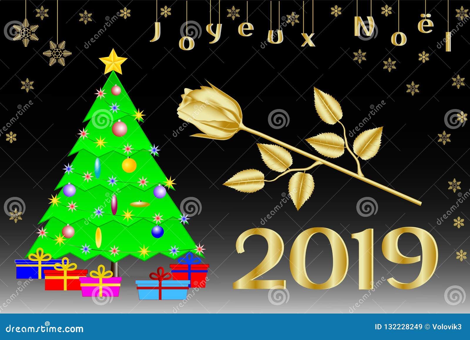 Stella Di Natale A 5 Punte.Congratulazioni Sul Natale 2019 In Francese Albero Di Natale Con Una