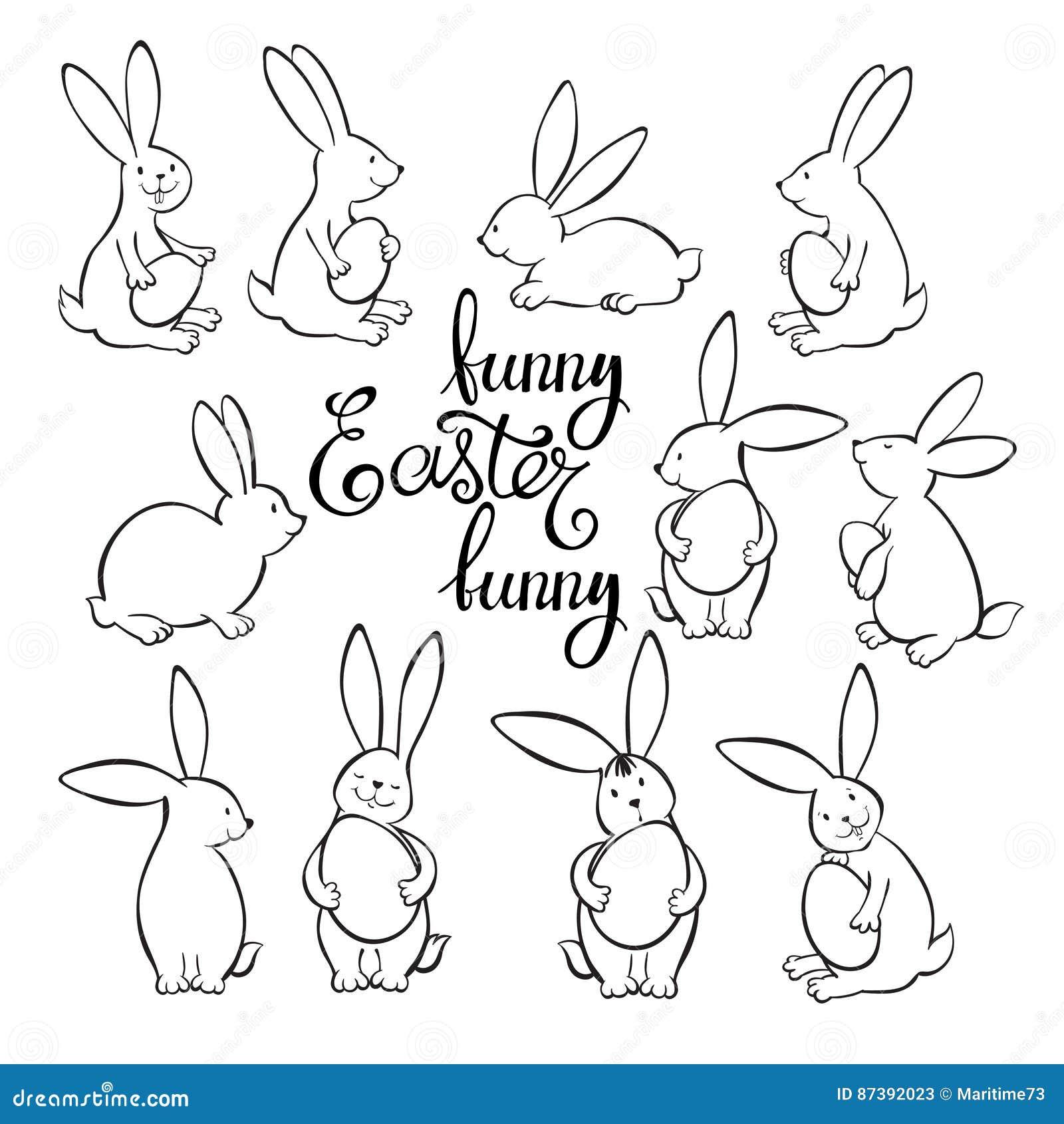 Coniglietti Di Pasqua Divertenti Illustrazione Di Vettore Disegno Di