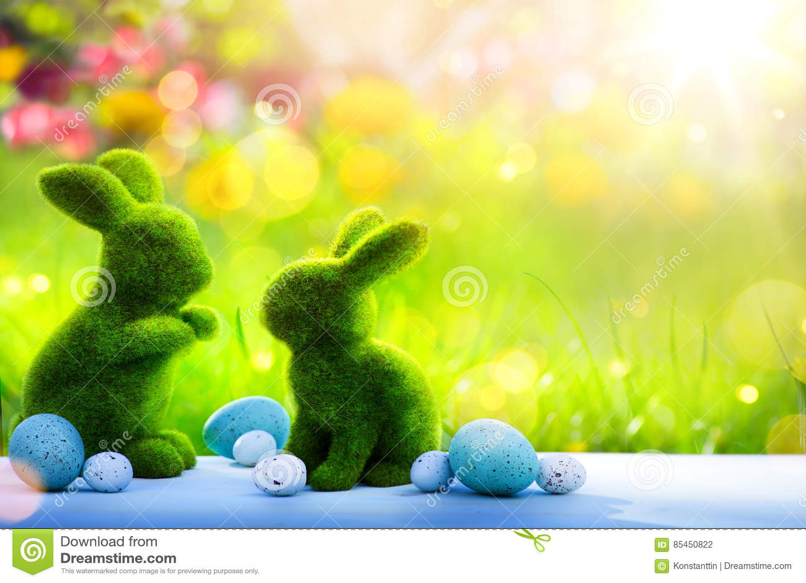 Coniglietto di pasqua della famiglia di arte ed uova di Pasqua; Giorno di Pasqua felice