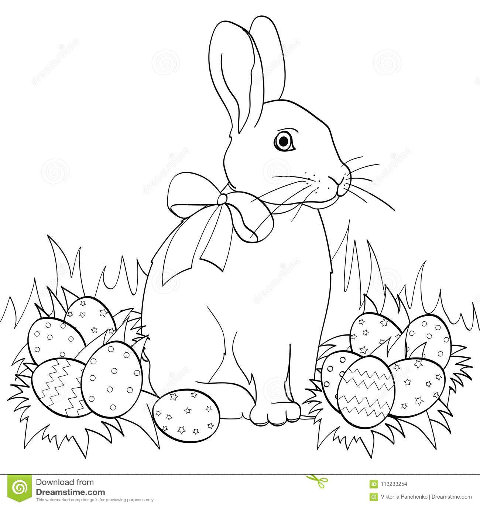 Coniglietto Di Pasqua Su Erba Verde Uova Di Pasqua Libro Da