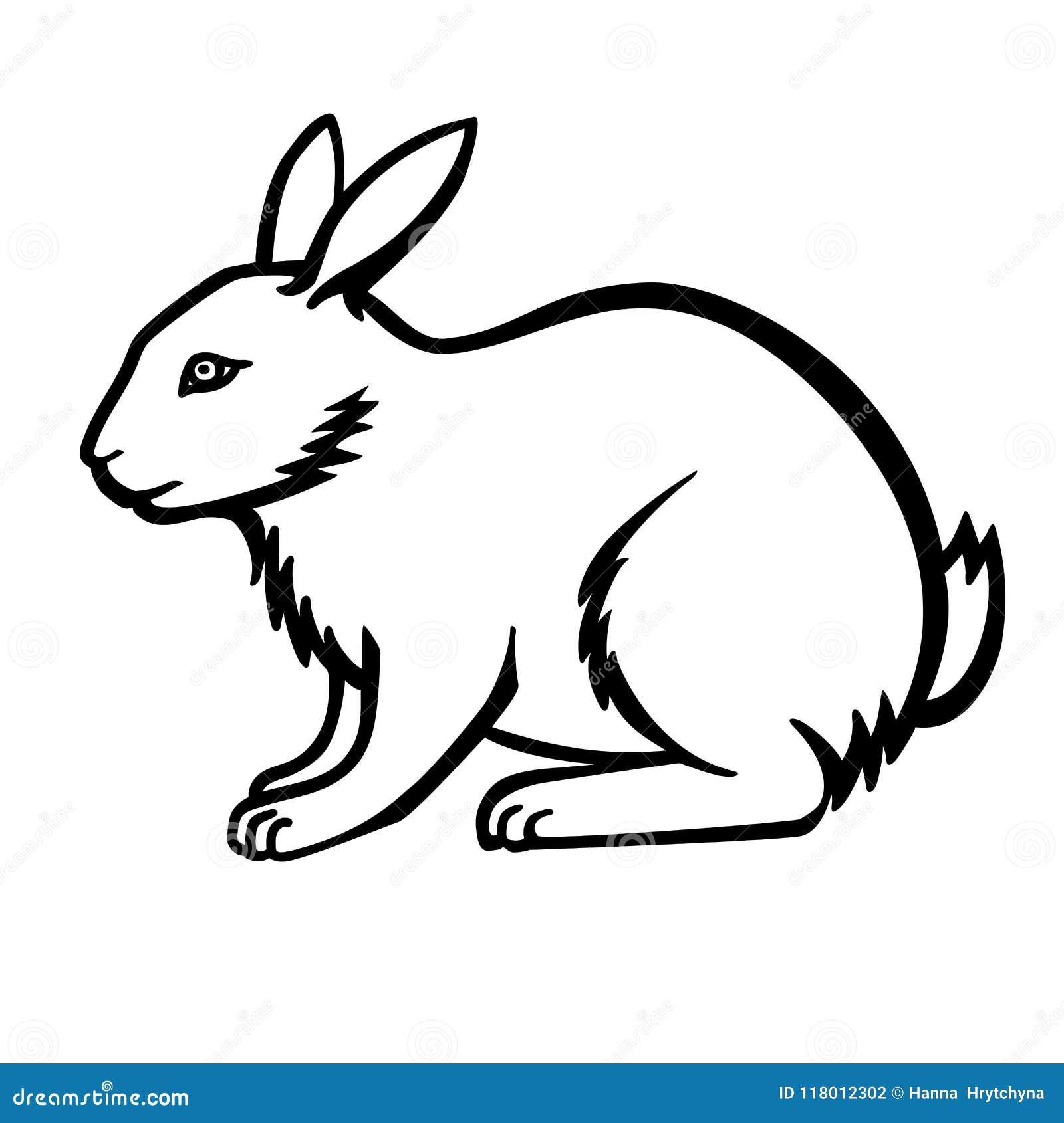 Coniglio Elemento Del Coniglio Per Il Libro Da Colorare Disegno Lineare Di Un Coniglietto Modello Per Colorare Illustrazione Vettoriale Illustrazione Di Colorazione Elemento 118012302