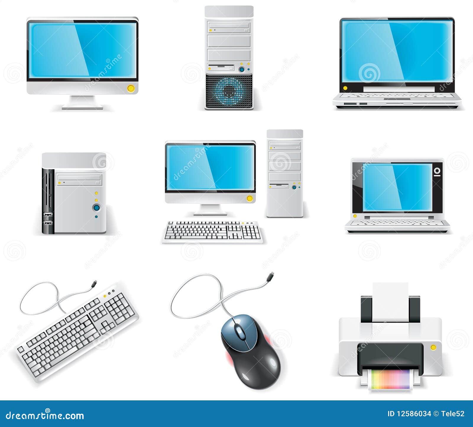 Conjunto blanco del icono del ordenador del vector. PC de la parte 1.