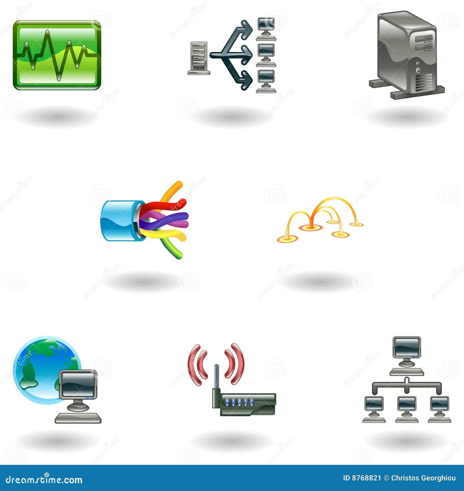 Conjunto brillante del icono de la red de ordenadores
