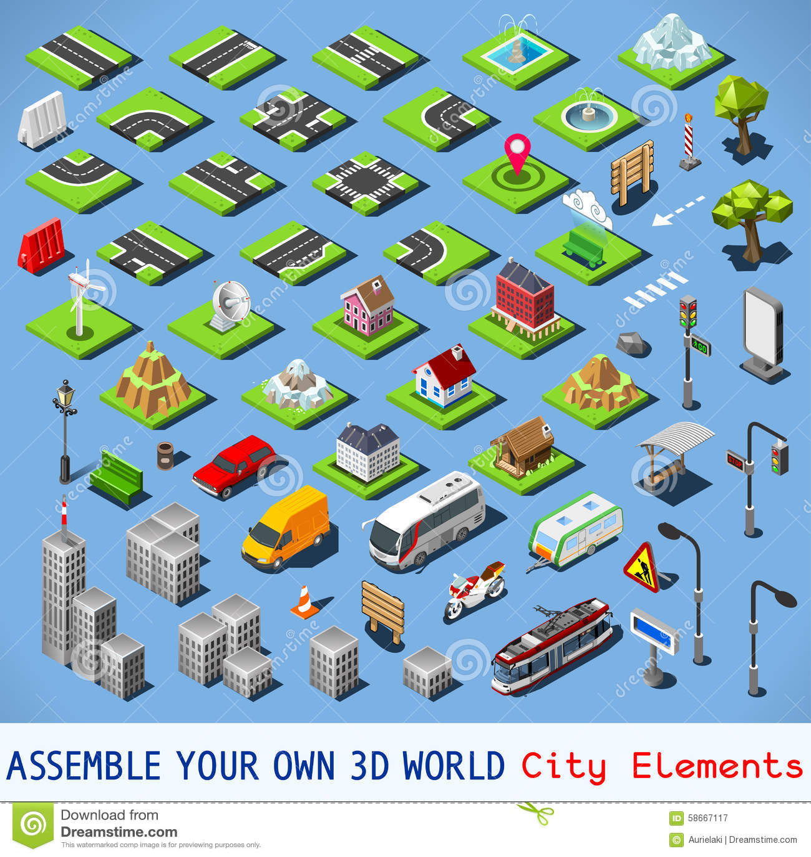 Conjunto completo de la ciudad 01 isométrico