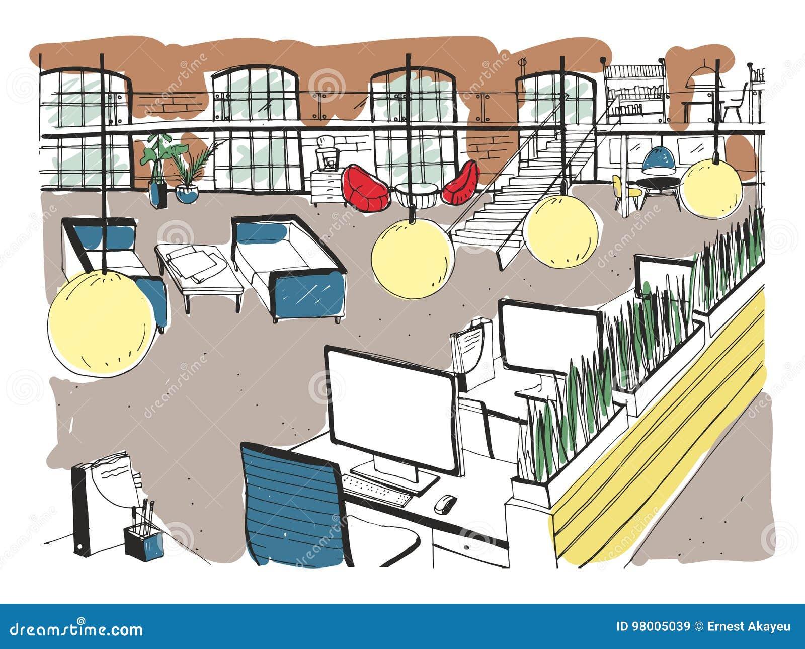 Conjunto coworking tirado mão Escritório moderno interior, espaço aberto espaço de trabalho com computadores, portáteis, iluminaç