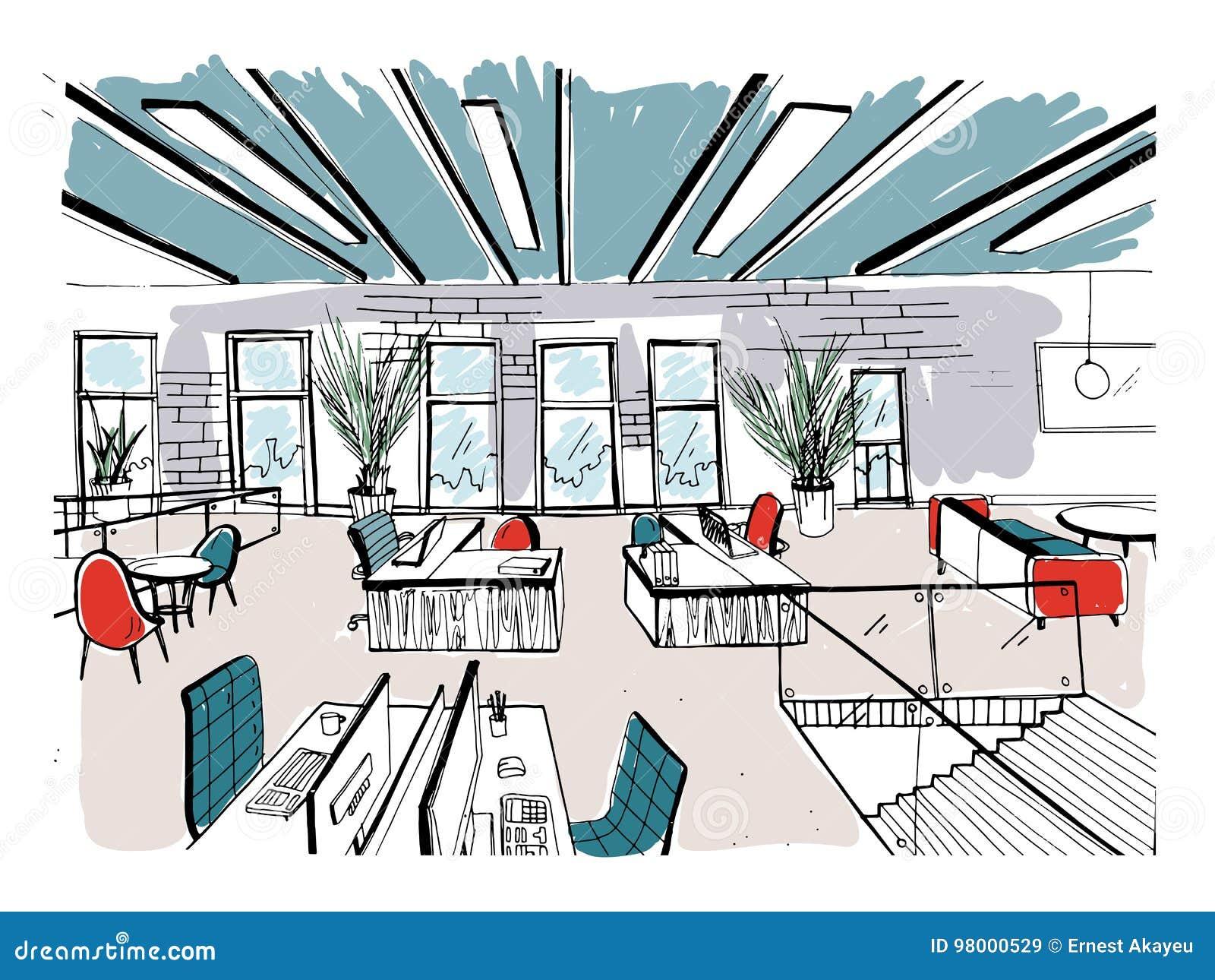 Conjunto coworking tirado mão Interiores modernos do escritório, espaço aberto espaço de trabalho com computadores, portáteis, il