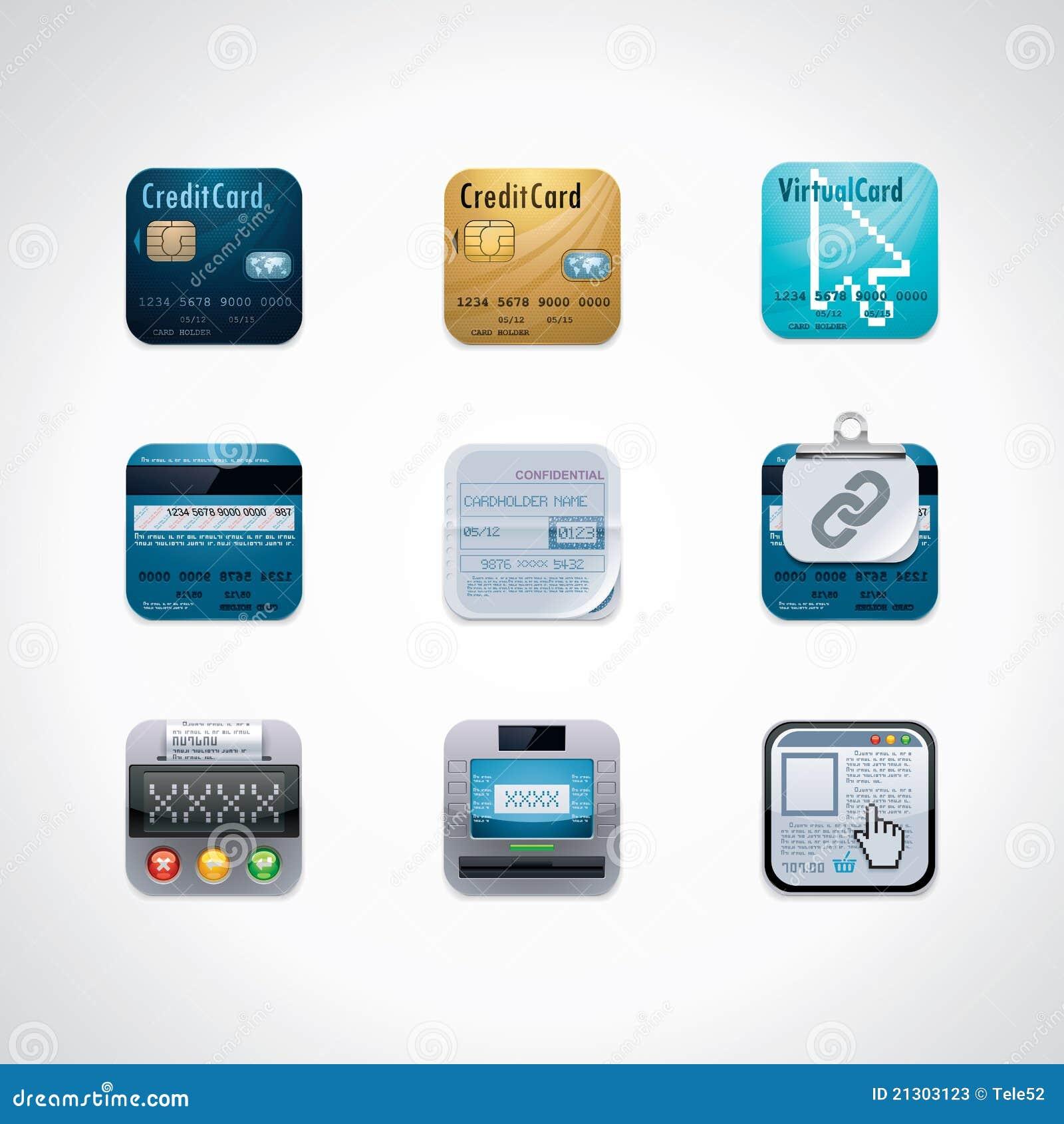 Conjunto cuadrado de la tarjeta de crédito del icono