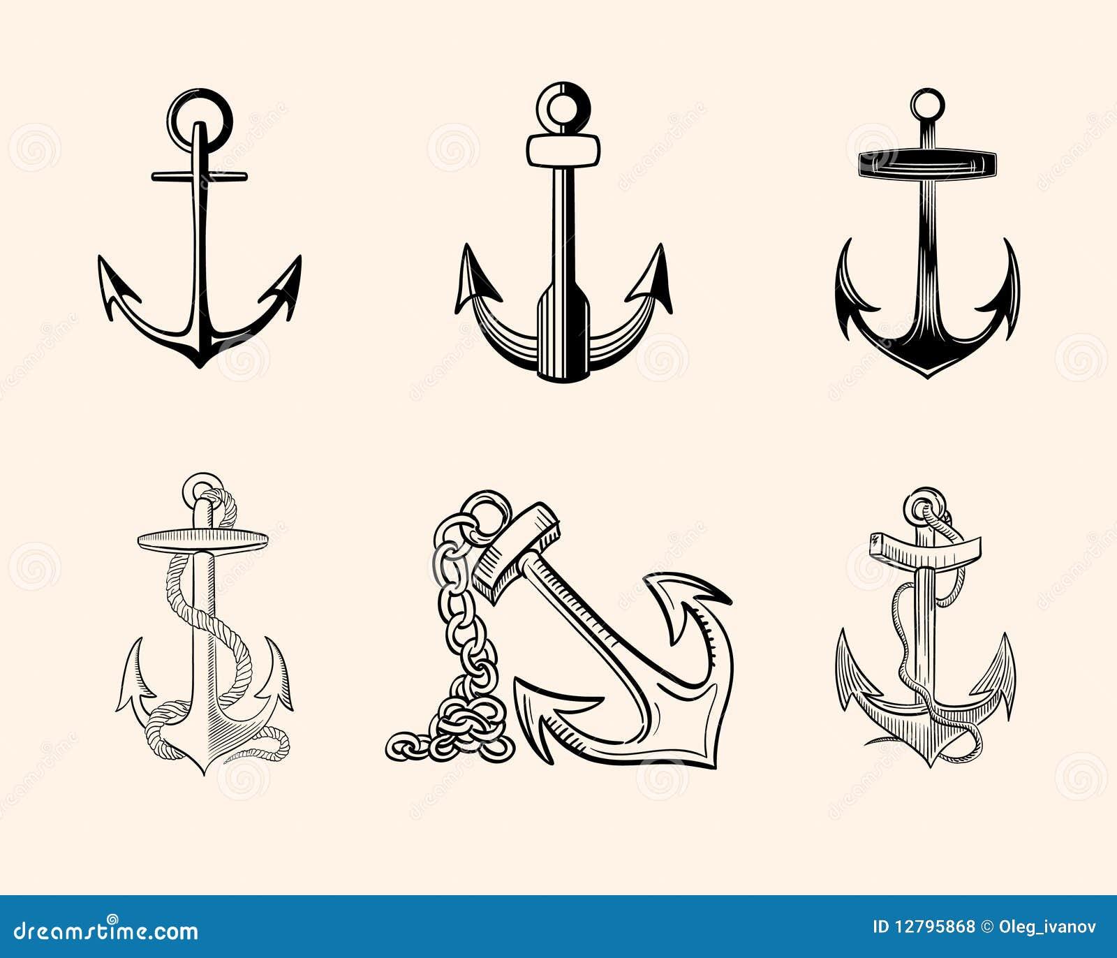 Conjunto De Anclas Ilustración Del Vector Ilustración De Cuerda