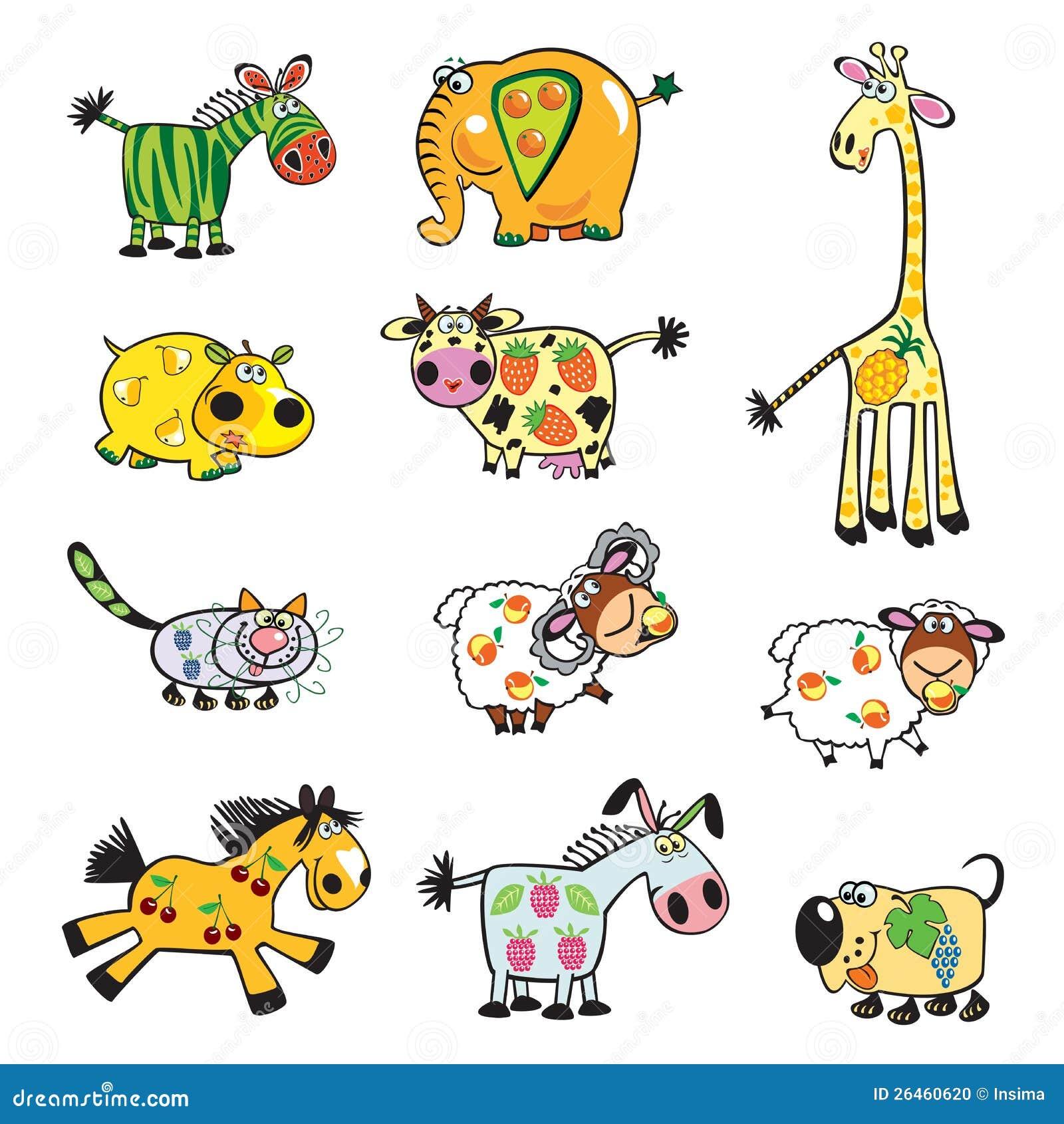 Conjunto de animales con sabor a fruta ilustraci n del - Fotos de animales infantiles ...