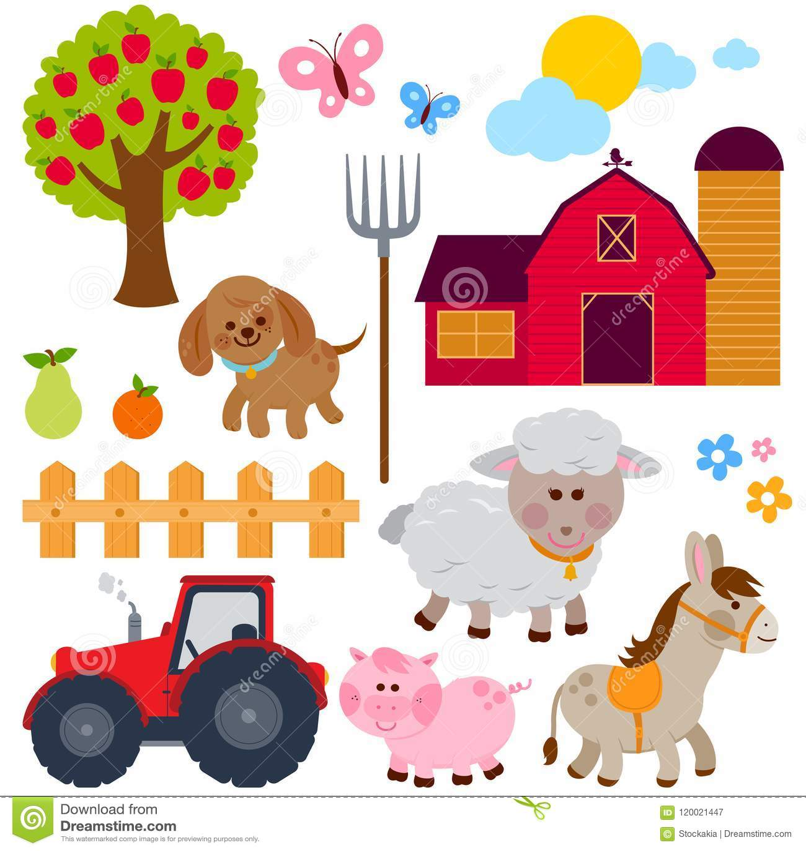 Conjunto de animales del campo