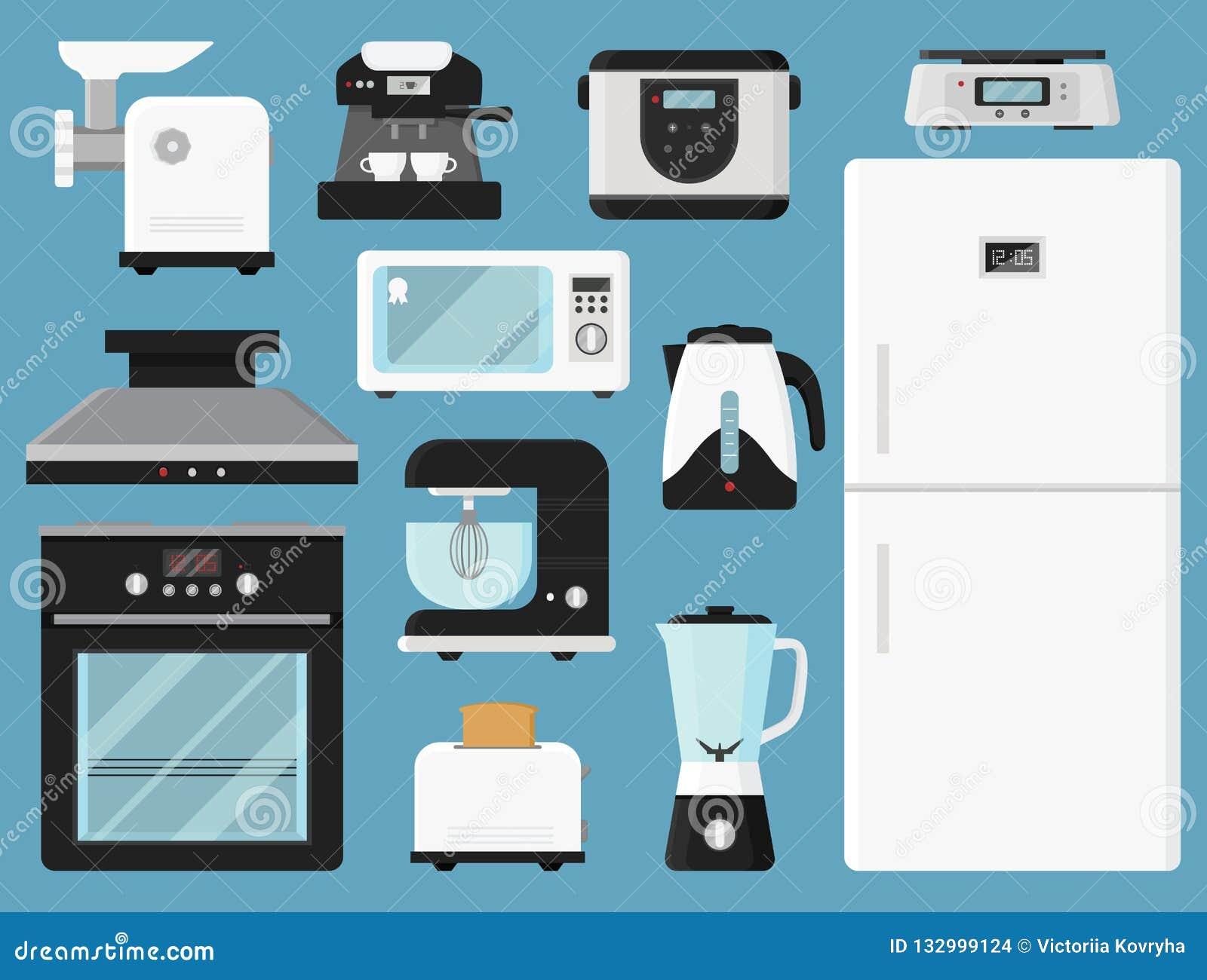 Conjunto De Aplicaciones De Cocina Diverso Equipo De Hogar Dispositivos  Electrónicos Tema Moderno De La Tecnología Iconos Coloridos Del Vector En  Estilo ...
