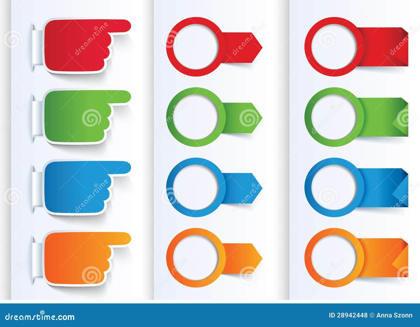 Conjunto de banderas coloridas de las flechas y del diseño.