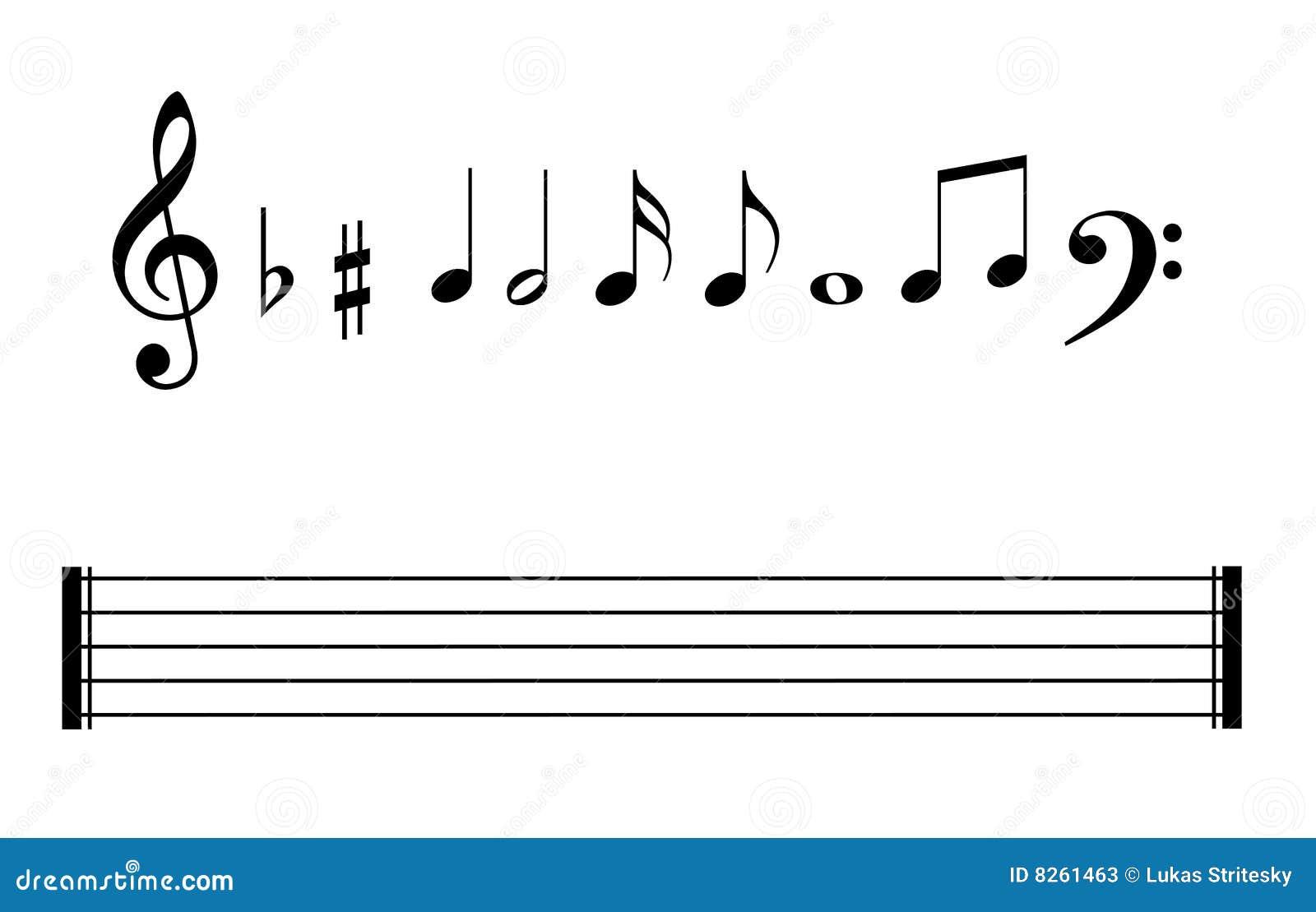 Conjunto de bastones de las notas musicales y de líneas de la nota musical