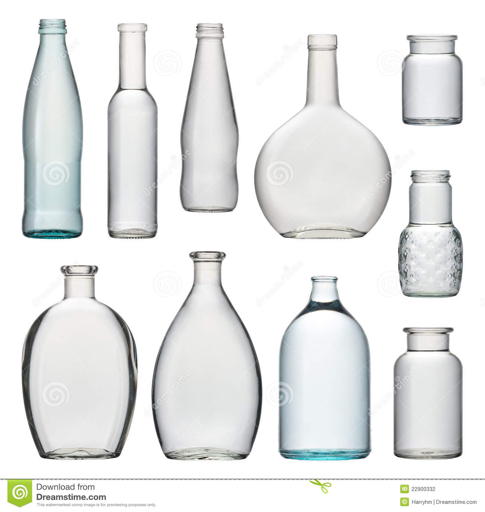 Conjunto De Botellas De Cristal Transparentes Foto de archivo