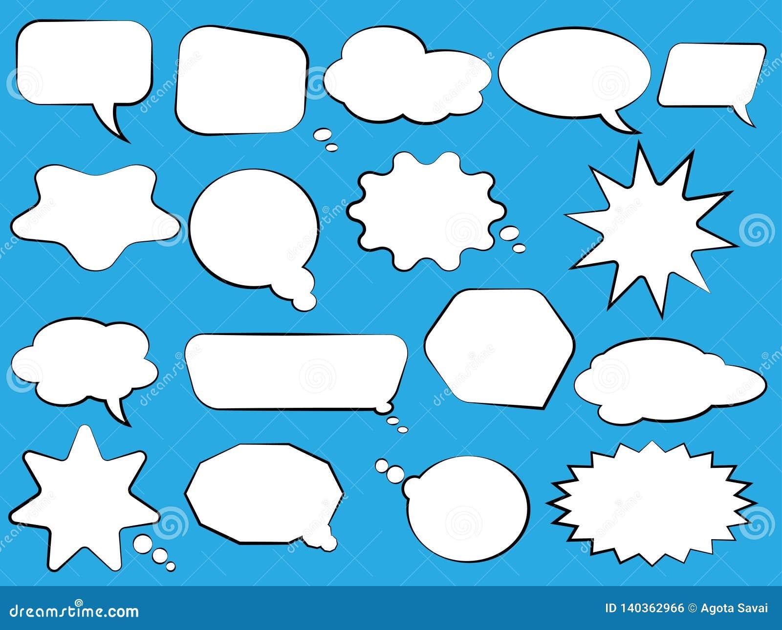 Conjunto de burbujas del discurso Burbujas blancas vacías en blanco del discurso Diseño de la palabra del globo de la historieta