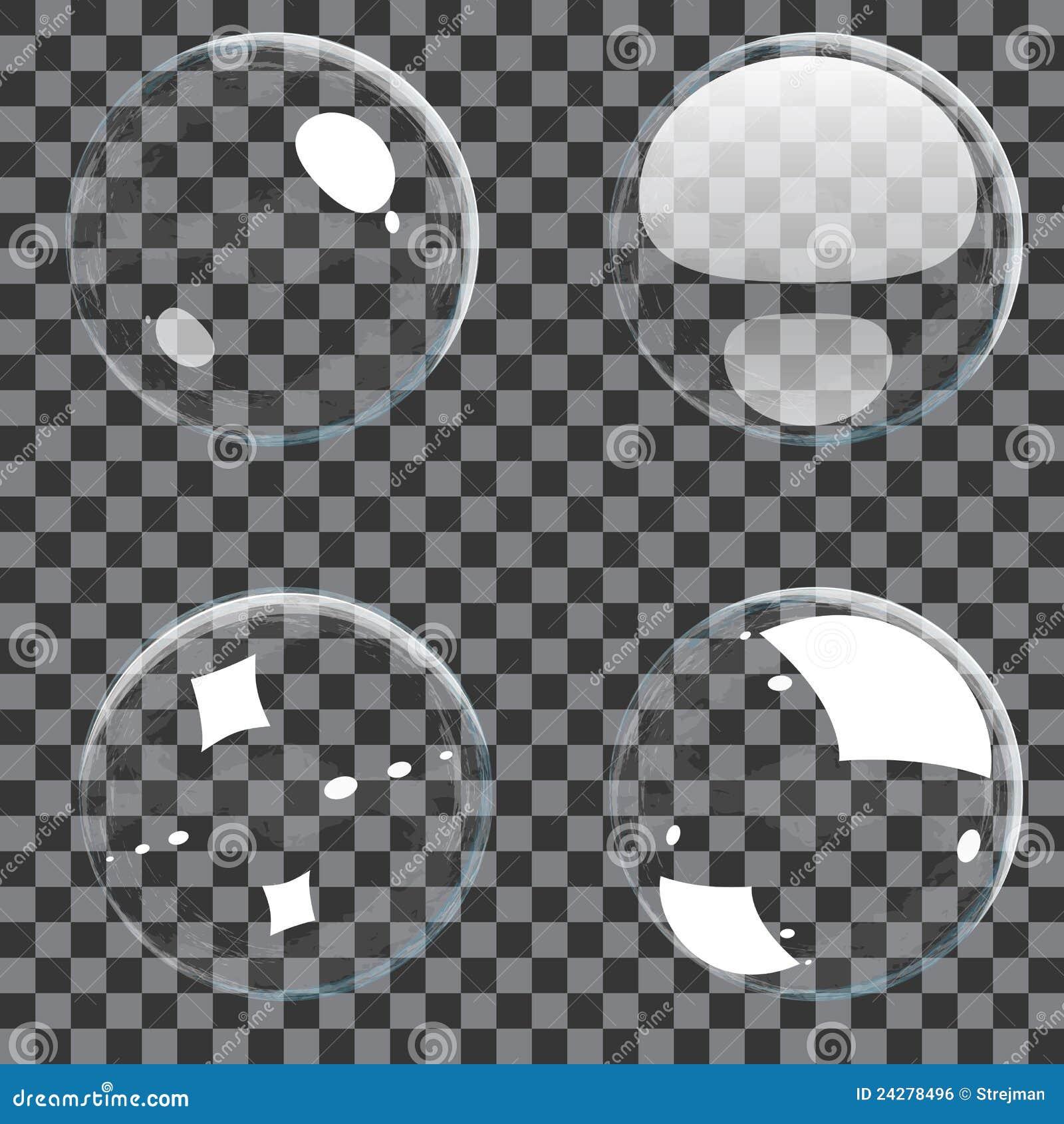 Conjunto de burbujas transparentes