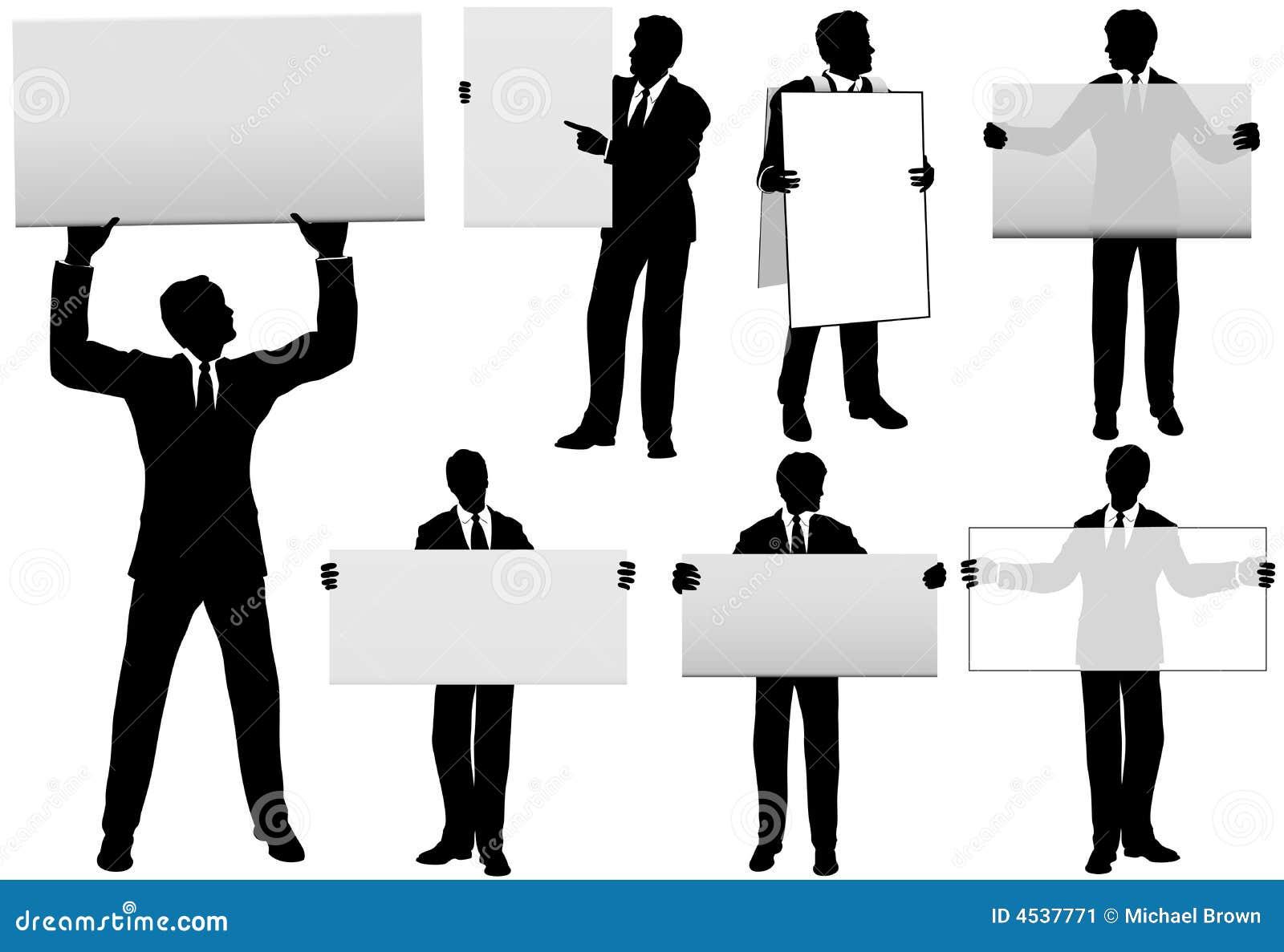 Conjunto de cinco muestras del anuncio del asimiento de los hombres de negocios