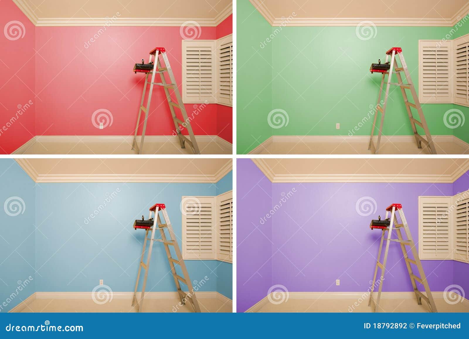 Conjunto De Cuartos Vacíos Pintados En La Variedad De Colores Foto ...