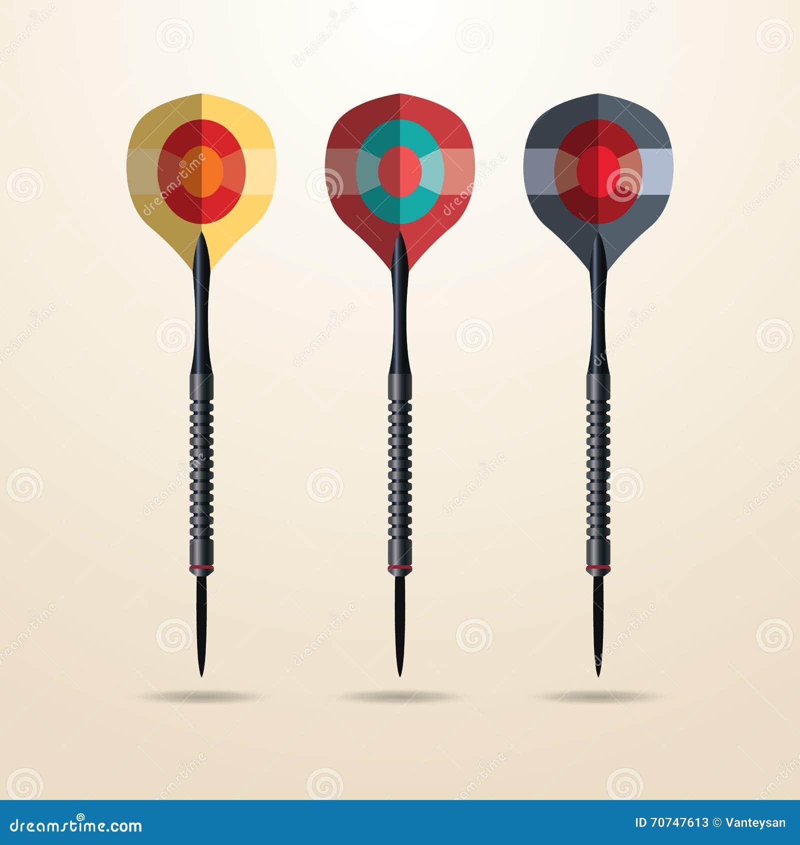 Conjunto de dardos del color Vector