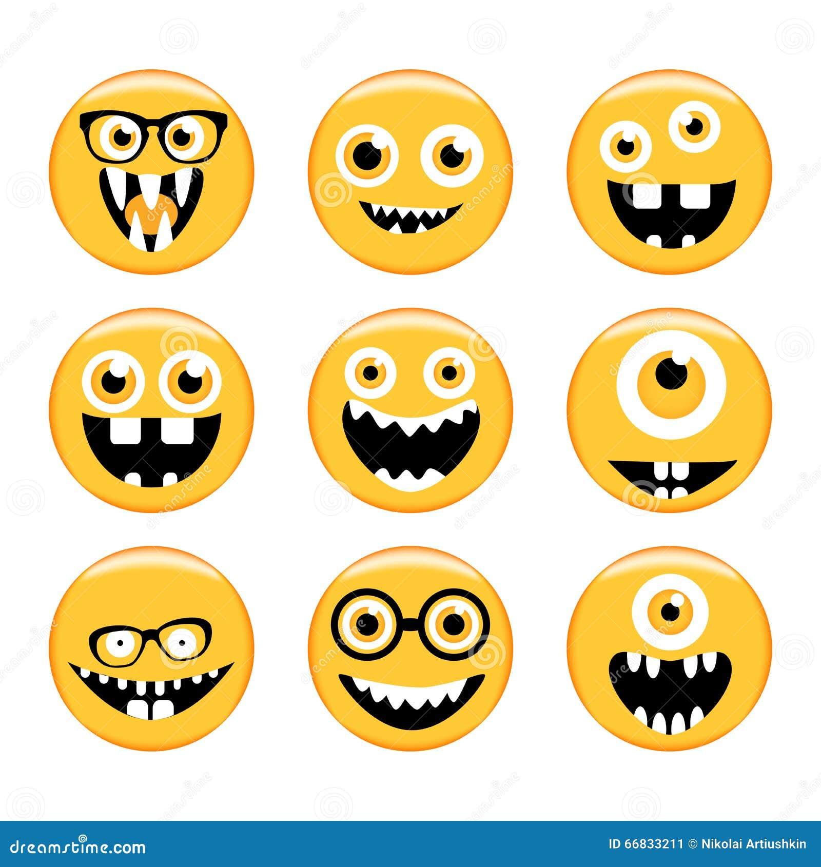 Conjunto de emoticons Emoji Caras del monstruo en vidrios con diversas expresiones