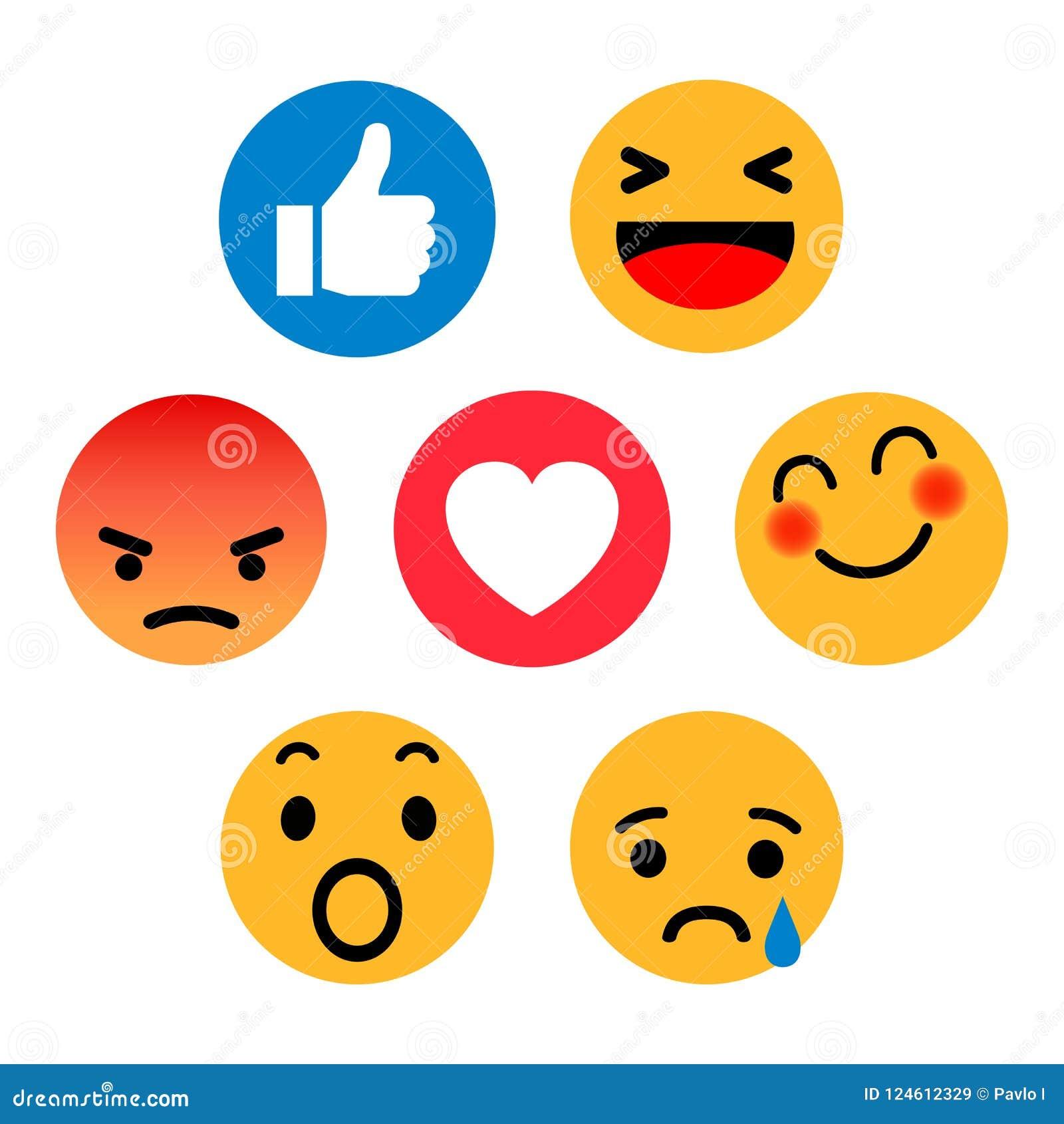 Conjunto de emoticons Icono social de las reacciones de la red de Emoji Los smilies amarillos, fijaron la emoción sonriente, por
