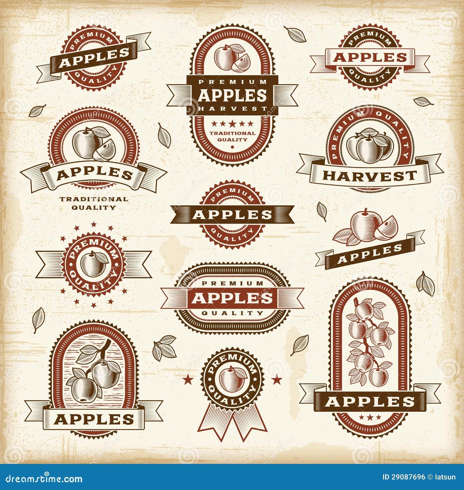 Conjunto de escrituras de la etiqueta de la manzana del vintage