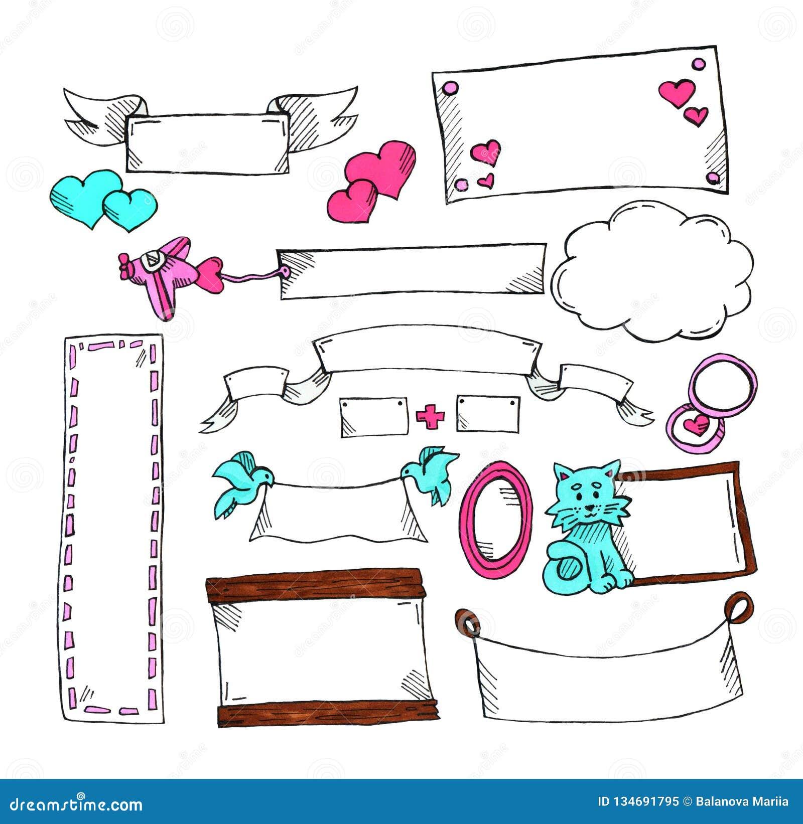 Conjunto de escrituras de la etiqueta sin texto para la postal y los regalos St Día del ` s de la tarjeta del día de San Valentín