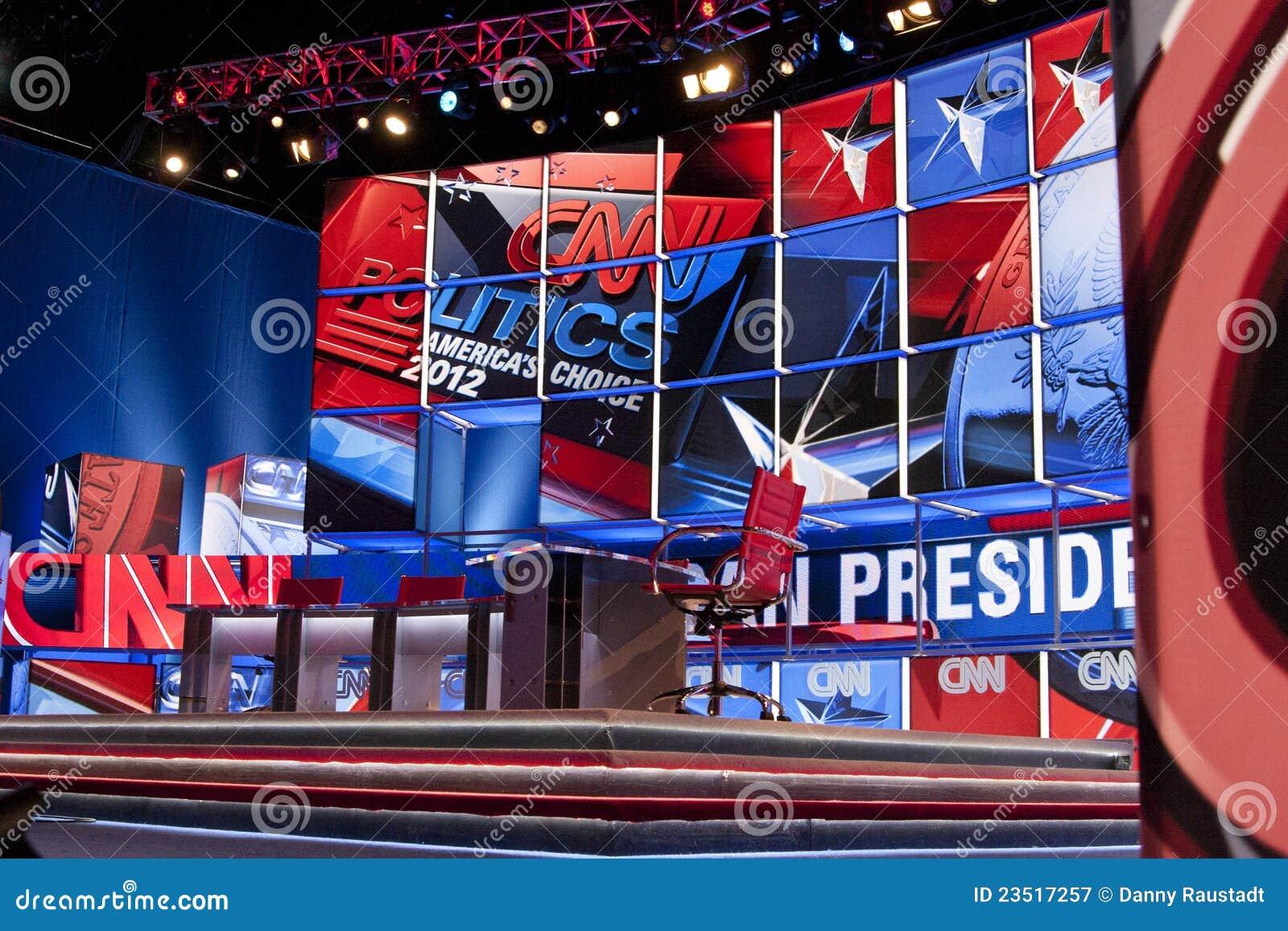 Conjunto de etapa de cabletelevisión del discusión del CNN