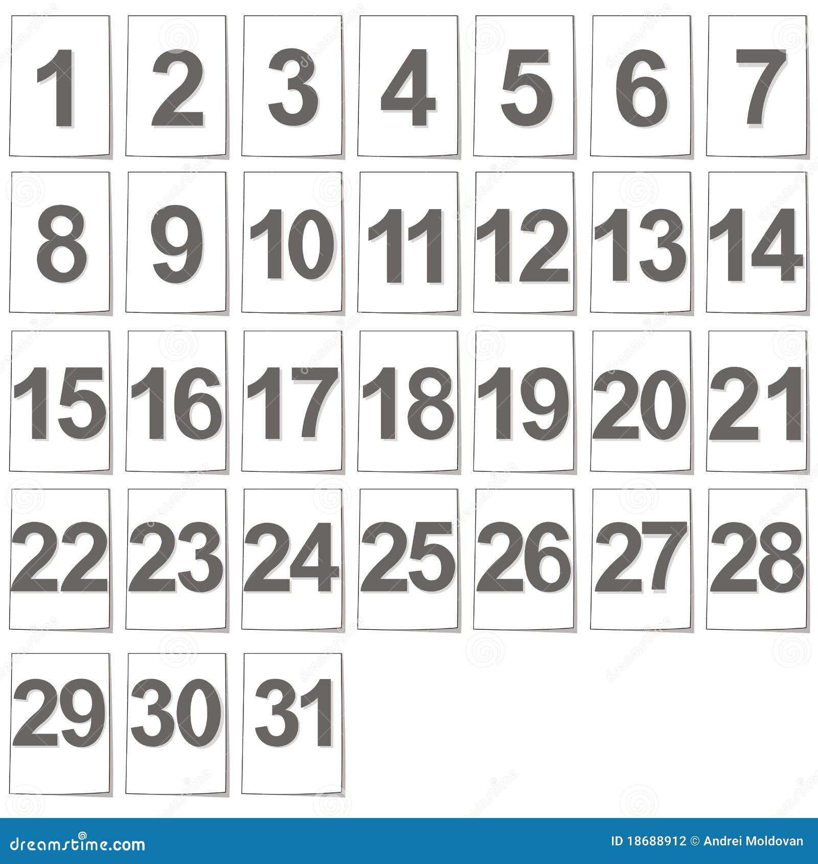 Conjunto De Ficheros Del Calendario Ilustracion Del Vector