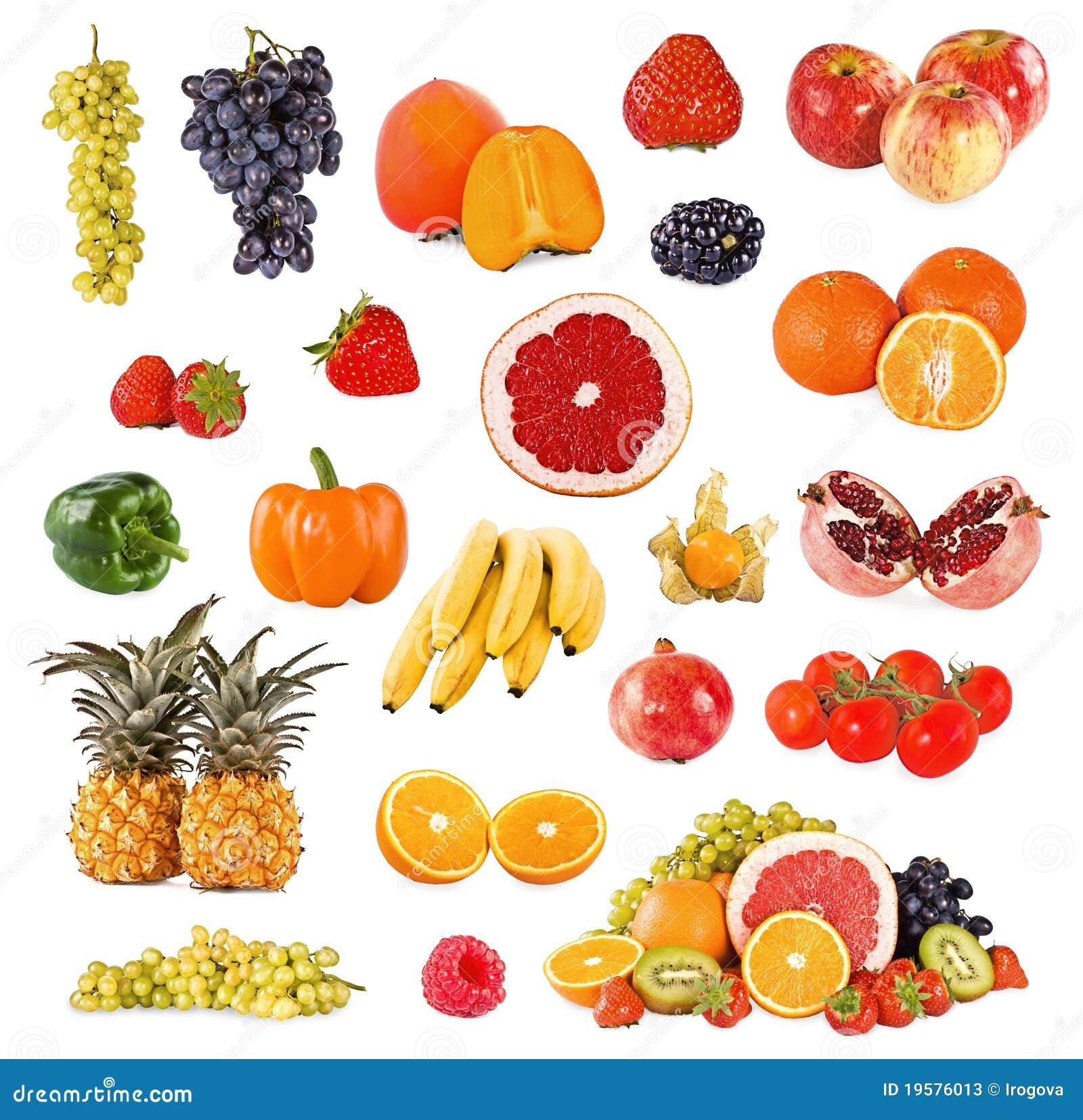 conjunto de frutas y verdura fotos de archivo